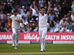 Ben Stokes celebrates taking the wicket of Chris Rogers on day two of the Fourth Test of The Ashes on August 7, 2015