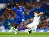 Victor Moses of Chelsea is challenged by Mario Suarez of Fiorentina during the Pre Season Friendly match between Chelsea and Fiorentina at Stamford Bridge on August 5, 2015