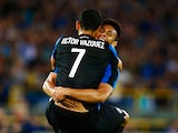 Victor Vazquez of Club Brugge celebrates scoring his teams second goal of the game with team mate Oscar Duarte during the third qualifying round 2nd Leg UEFA Champions League match between Club Brugge and Panathinaikos held at Jan Breydel Stadium on Augus