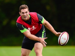 George North in action at a Wales training session on August 4, 2015