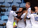 Mirco Antenucci (2ndL) of Leeds United celebrates scoring with teamates during the Sky Bet Championship match between Leeds United and Burnley at Elland Road on August 8, 2015