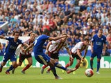 Riyad Mahrez of Leicester City scores his team's third goal from the penalty spot during the Barclays Premier League match between Leicester City and Sunderland at The King Power Stadium on August 8, 2015