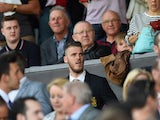 David De Gea of Manchester United is seen on the stand during the Barclays Premier League match between Manchester United and Tottenham Hotspur at Old Trafford on August 8, 2015