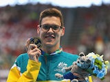 Gold medalist Mitch Larkin of Australia poses during the medal ceremony for the Men's 200m Backstroke on day fourteen of the 16th FINA World Championships at the Kazan Arena on August 7, 2015