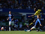 Odion Ighalo of Watford scores his team's second goal during the Barclays Premier League match between Everton and Watford at Goodison Park on August 8, 2015