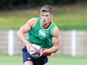 Owen Farrell in action during an England training session on August 4, 2015