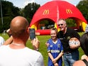 Sir Geoff Hurst at the Surrey FA & McDonald's Community Football Day on August 3, 2015