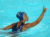 Tania Di Mario #7 of Italy celebrates after scoring a goal in the Women's bronze medal match between Australia and Italy on day fourteen of the 16th FINA World Championships at the Water Polo Arena on August 7, 2015