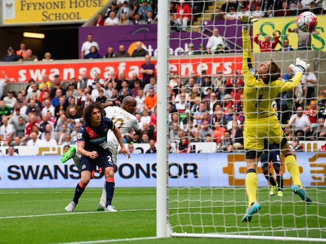 Andre Ayew scores Swansea's second against Newcastle on August 15, 2015