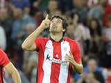 Athletic Bilbao's defender Mikel San Jose celebrates after scoring during the Spanish Supercup first-leg football match Athletic Club Bilbao vs FC Barcelona at the San Mames stadium in Bilbao on August 14, 2015