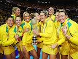 Australia celebrate winning the gold medal at the Netball World Cup on August 16, 2015