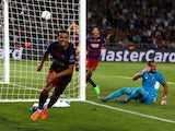 Pedro of Barcelona celebrates scoring their fifth goal past Beto of Sevilla in extra time during the UEFA Super Cup between Barcelona and Sevilla FC at Dinamo Arena on August 11, 2015