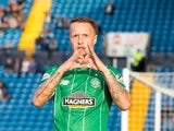 Leigh Griffiths of Celtic celebrates his goal during the Scottish premiership match between Kilmarnock and Celtic at Rugby Park on August 12, 2015