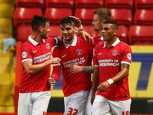 Tony Watt of Charlton Athletic celebrates scoring a goal during the Capital One Cup First Round match between Charlton Athletic v Dagenham & Redbridge at The Valley on August 11, 2015