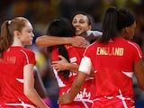 England celebrate gaining bronze at the Netball World Cup on August 16, 2015