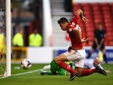 Tyler Walker of Nottingham Forest scores his sides first goal during the Capital One Cup First Round match between Nottingham Forest and Walsall at City Ground on August 11, 2015