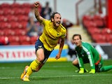 Danny Hylton of Oxford United celebrates scoring Oxfords 2nd goal during the Capital One Cup First Round match between Brentford and Oxford United at Griffin Park on August 11, 2015