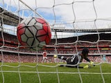 Petr Cech of Arsenal concedes the second goal against West Ham United in the Premier League on August 9, 2015
