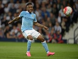 Manchester City's English midfielder Raheem Sterling shoots during the English Premier League football match between West Bromwich Albion and Manchester City at The Hawthorns in West Bromwich, central England, on August 10, 2015