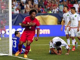 Roman Torres #5 of Panama celebrates scoring the opening goal against Mexico during the 2015 CONCACAF Golf Cup Semifinal match between Mexico and Panama at Georgia Dome on July 22, 2015 in Atlanta, Georgia.