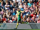 Norwich's Russell Martin celebrates scoring the opener against Sunderland on August 15, 2015