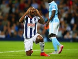 Saido Berahino of West Bromwich Albion reacts during the Barclays Premier League match between West Bromwich Albion and Manchester City at The Hawthorns on August 10, 2015