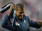 West Bromwich Albion's new record signing Venezuelan Salomon Rondon smiles before the English Premier League football match between West Bromwich Albion and Manchester City at The Hawthorns in West Bromwich, central England, on August 10, 2015