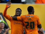 Wolves striker Nouha Dicko celebrates after scoring the first Wolves goal during the Capital One Cup First Round match between Wolverhampton Wanderers and Newport County at Molineux on August 11, 2015