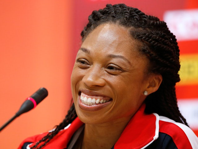 Sprinter Allyson Felix of the United States answers questions during a United States team news conference ahead of the 15th IAAF World Athletics Championships Beijing 2015 at the Beijing National Stadium on August 21, 2015
