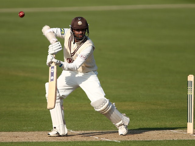 Arun Harinath of Surrey hits out during day one of the LV County Championship second division match between Kent and Surrey at St. Lawrence Ground on May 4, 2014