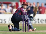 Ben Duckett of Northants sweeps the ball for four runs during the NatWest T20 Blast match between Northamptonshire Steelbacks and Leicestershire Foxes at The County Ground on July 12, 2015
