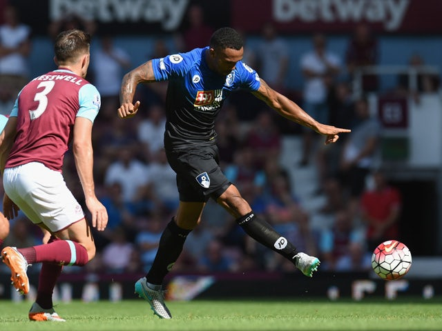 Callum Wilson of Bournemouth scores his team's second goal during the Barclays Premier League match between West Ham United and A.F.C. Bournemouth at the Boleyn Ground on August 22, 2015