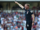 Eddie Howe Manager of Bournemouth gestures during the Barclays Premier League match between West Ham United and A.F.C. Bournemouth at the Boleyn Ground on August 22, 2015