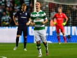 Leigh Griffiths of Celtic celebrates scoring a goal early in the first half during the UEFA Champions League Qualifying play off first leg match, between at Celtic Park on August 19, 2015