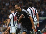 Cesar Azpilicueta of Chelsea celebrates scoring his team's third goal during the Barclays Premier League match between West Bromwich Albion and Chelsea at The Hawthorns on August 23, 2015