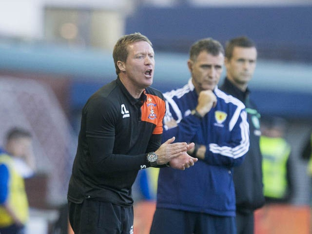 Gary Locke Kilmarnock manager during the Scottish premiership match between Kilmarnock and Celtic at Rugby Park on August 12, 2015