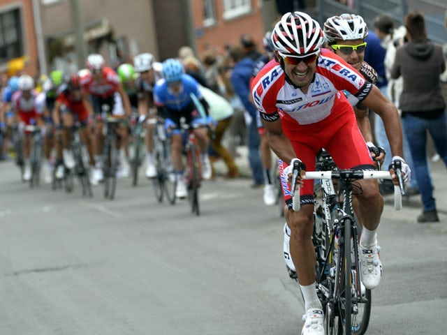 Italian cyclist Giampaolo Caruso of Team Katusha during the 100th Liege-Bastogne-Liege one-day classic cycling race, on April 27, 2014