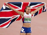 Jessica Ennis-Hill of Great Britain celebrates after winning the Women's Heptathlon 800 metres and the overall Heptathlon gold during day two of the 15th IAAF World Athletics Championships Beijing 2015 at Beijing National Stadium on August 23, 2015