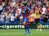Joel Ward celebrates scoring Crystal Palace's goal against Arsenal on August 16, 2015