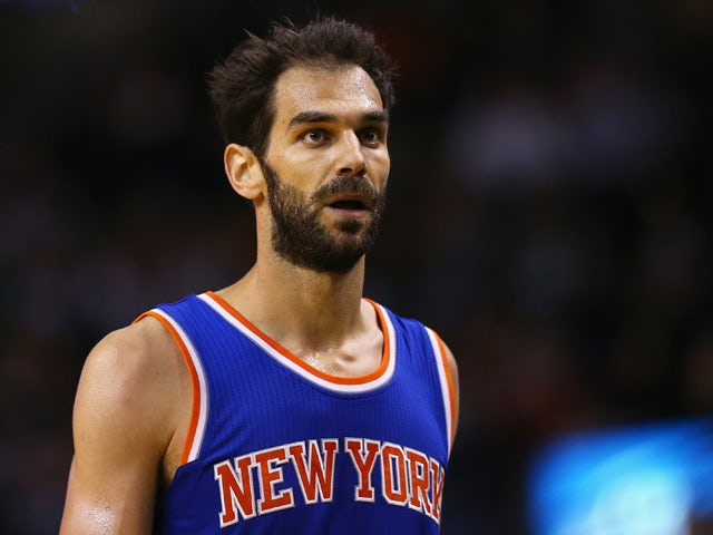 Jose Calderon #3 of the New York Knicks looks on during the game against the Boston Celtics at TD Garden on February 25, 2015