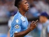 Lazio's forward from Senegal Balde Diao Keita celebrates after scoring a goal during the UEFA Champions League playoff football match between Lazio and Bayer Leverkusen, at Olympic stadium in Rome on August 18, 2015