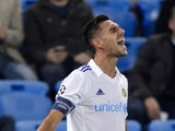Tel Aviv's midfielder Eran Zahavi celebrates his team's first goal during the UEFA Champions League playoff football match between FC Basel and Maccabi Tel Aviv at the St Jakob Park stadium in Basel on August 19, 2015