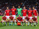 The Manchester United team pose during the UEFA Champions League Qualifying Round Play Off First Leg match between Manchester United and Club Brugge at Old Trafford on August 18, 2015