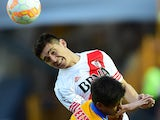 Matias Kranevitter of Argentina's River Plates, during their Libertadores Cup first leg final, at the Universitario Stadium, in Monterrey, Nuevo Leon State, Mexico, on July 29, 2015