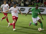 Milsami Orhei's defender Denis Rassulov vies with Saint-Etienne's forward Jean-Christophe Bahebeck during the UEFA Europa League playoff first leg football match between FC Milsami Orhei and AS Saint-Etienne in Chisinau on August 20, 2015