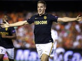 Monaco's Croatian midfielder Marco Pasalic celebrates after scoring during the UEFA Champions League playoff football match between Valencia CF vs AS Monaco FC at the Mestalla stadium in Valencia on August 19, 2014