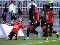 Rennes' forward Pedro Henrique celebrates after scoring a goal during the French L1 football match Lyon (OL) vs Rennes (SRFC) on August 22, 2015