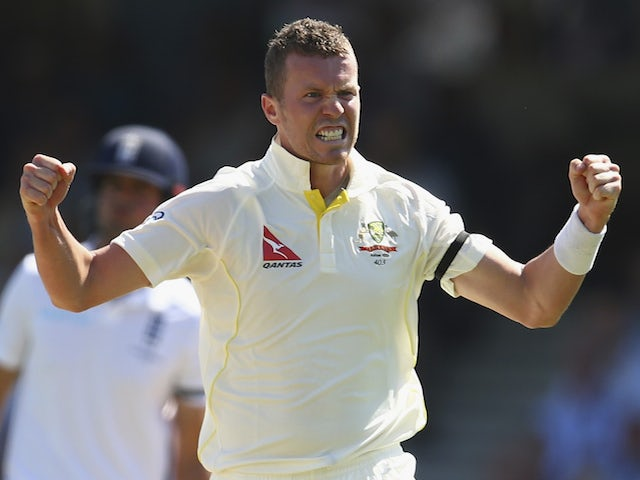 Peter Siddle of Australia celebrates after taking the wicket of Adam Lyth of England during day three of the 5th Investec Ashes Test match between England and Australia at The Kia Oval on August 22, 2015