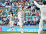 Australia's Peter Siddle celebrates taking the final wicket of England's Moeen Ali as Australia wrap up the game on the fourth day of the fifth Ashes cricket test match between England and Australia at The Oval cricket ground in London, on August 23, 2015