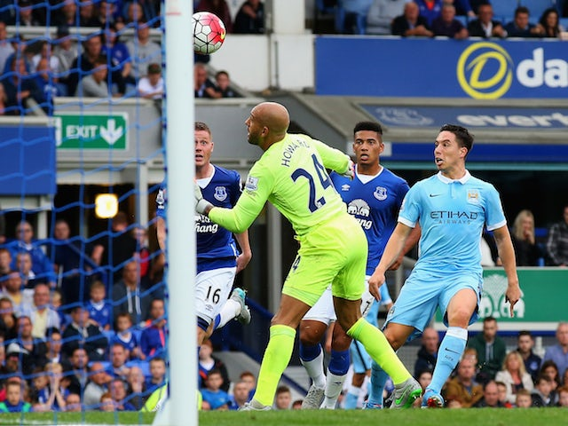 Samir Nasri of Manchester City scores his team's second goal during the Barclays Premier League match between Everton and Manchester City at Goodison Park on August 23, 2015
